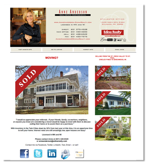 Jenifer Doherty web design - Anne Anderson, Real Estate Professional, Stillwater, MN - email site