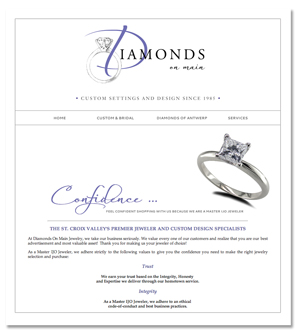 Jenifer Doherty web design - Diamonds on Main, Stillwater, MN