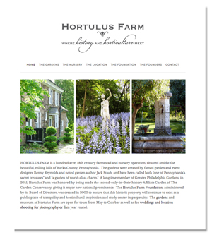 Jenifer Doherty website design - Hortulus Farm, Wrightstown, PA
