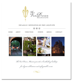 archive of original The Van Dusen Mansion website design